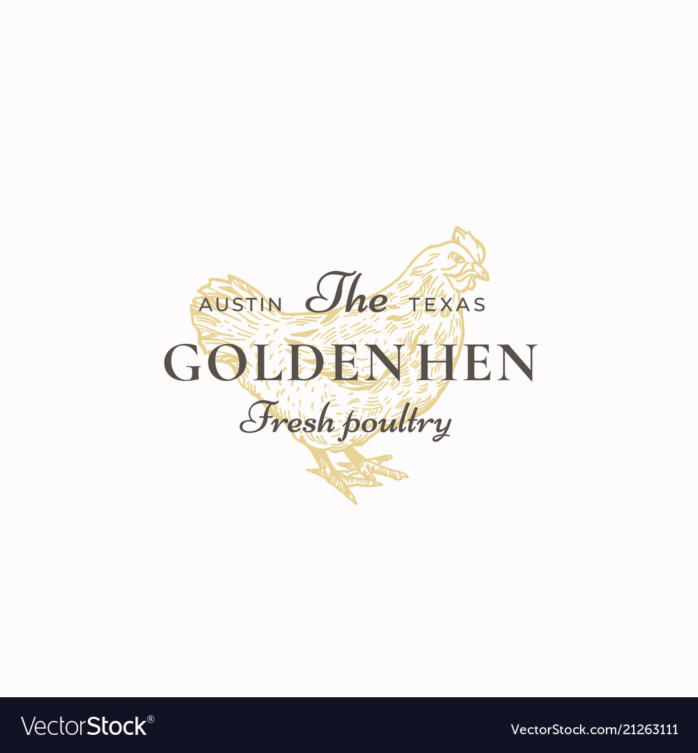 The golden hen poultry abstract sign