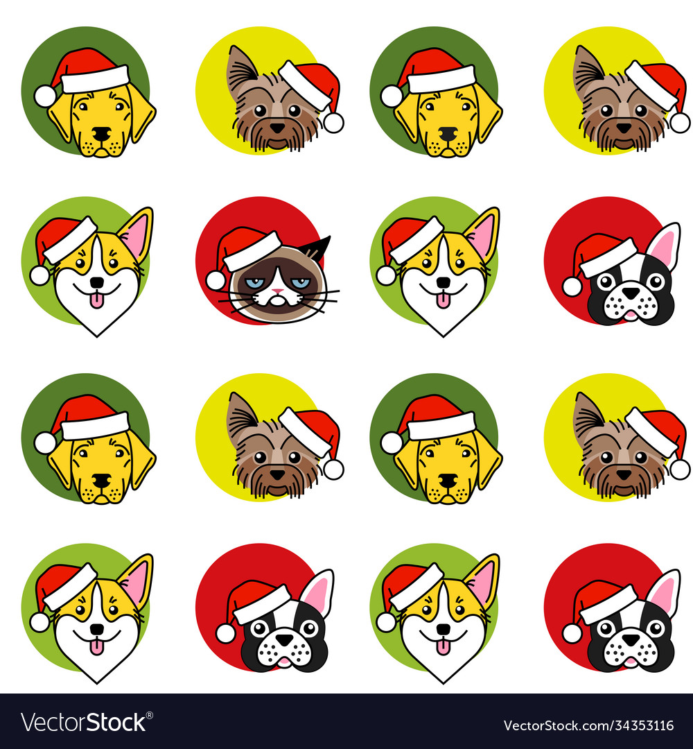 Dogs and cat in christmas santa hat