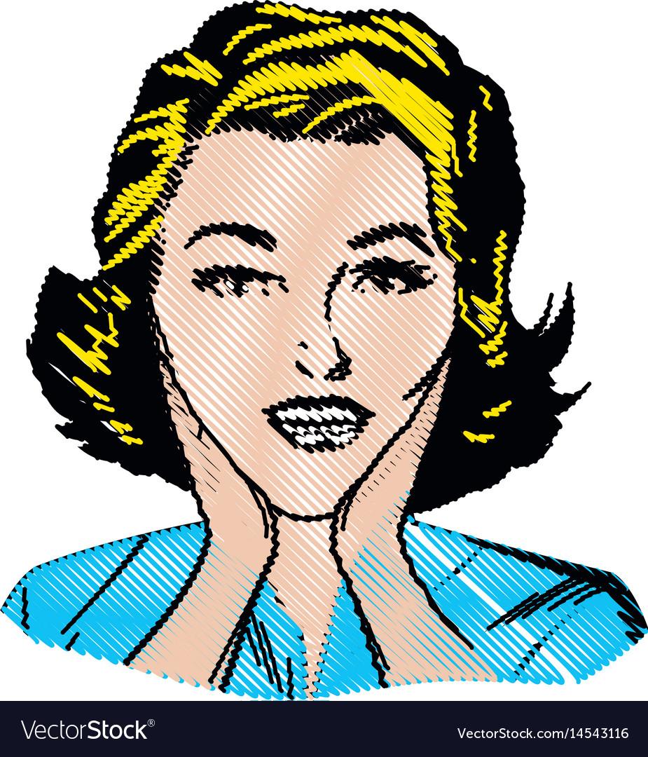 Drawing woman surprise attitude pop art vector image