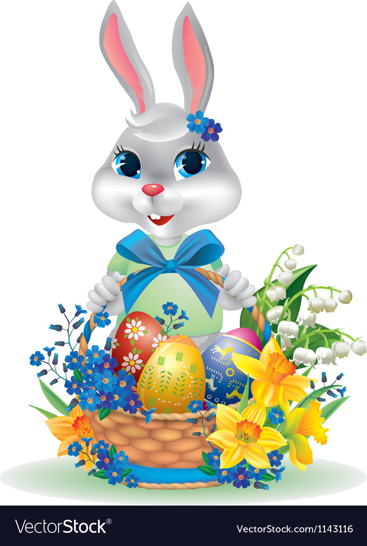 Easter bunny with basket eggs