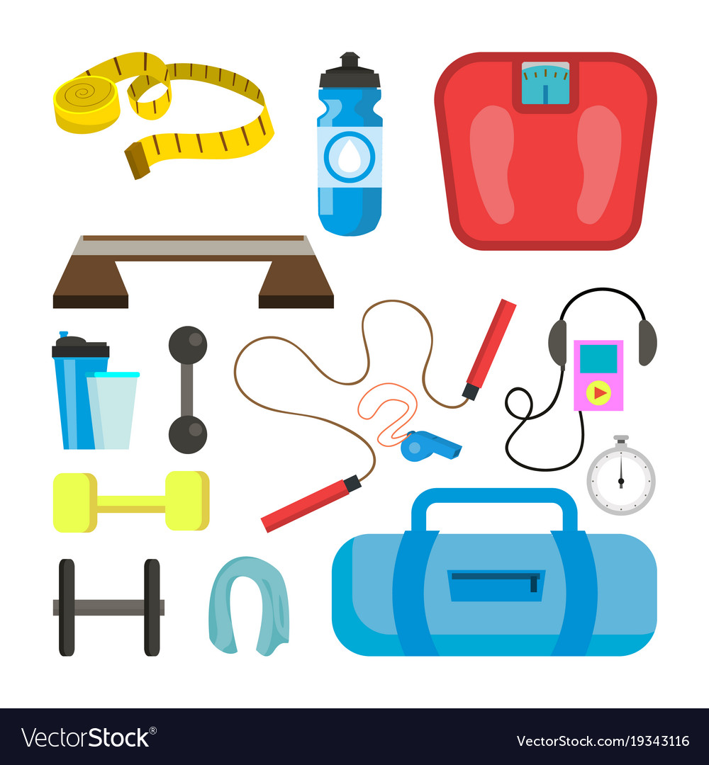 Fitness icons set sport tools accessories