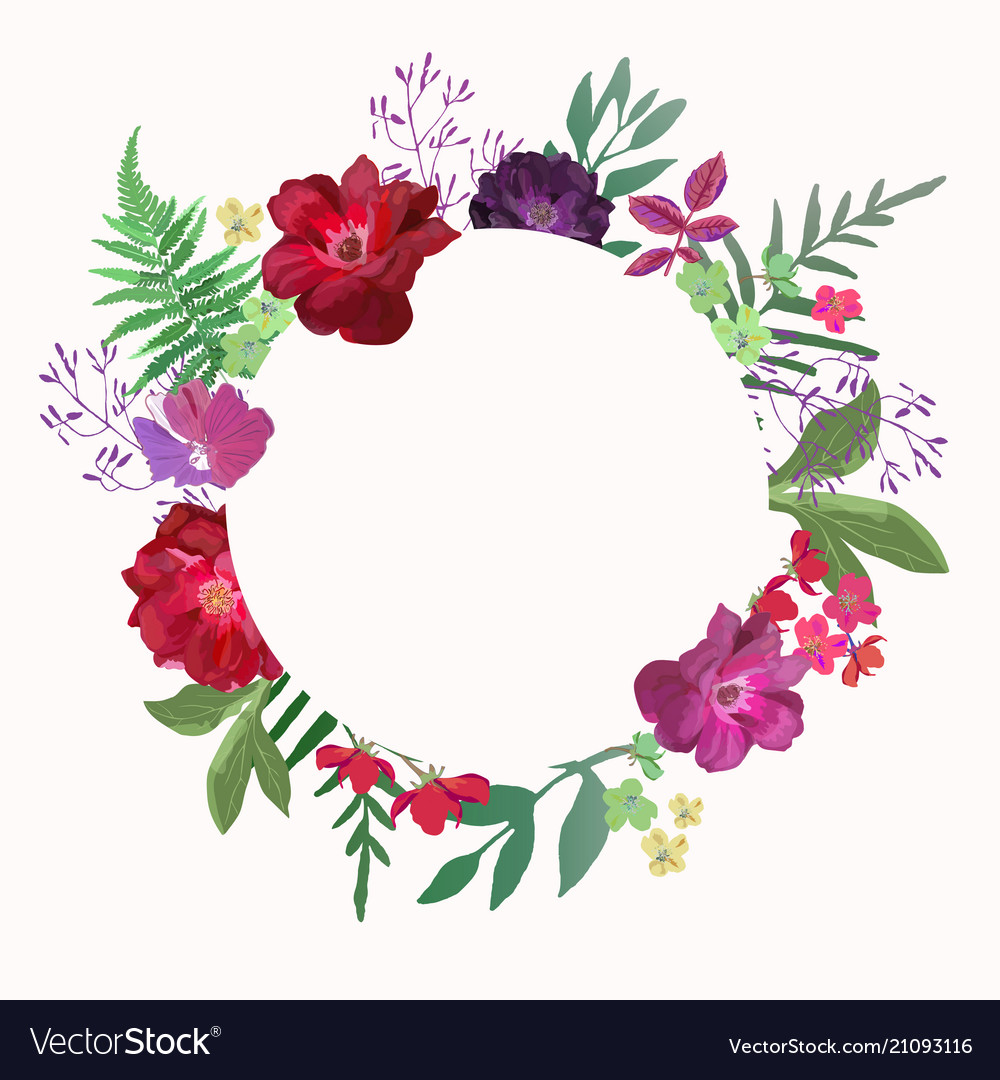 Flowers frame circle roses card on white backdrop