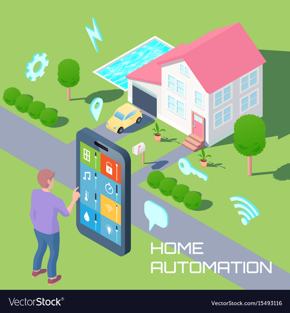 Home automation design concept vector image