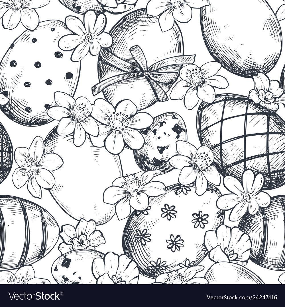 Seamless pattern with hand drawn ornate