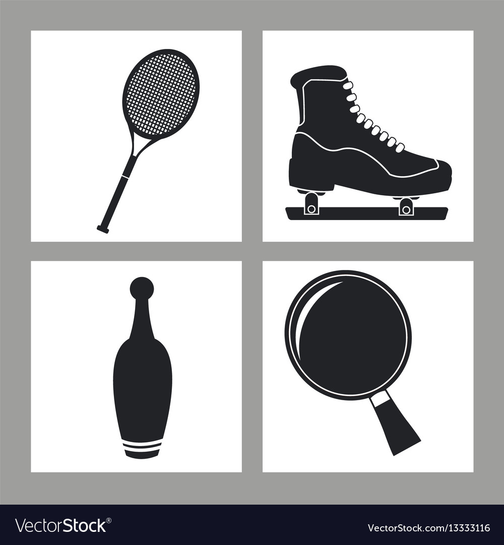 Set sport equipment icon black and white vector image