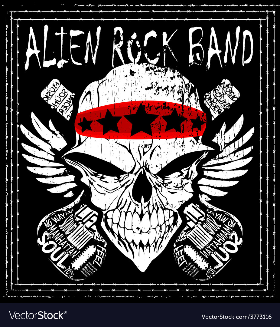 Skull Rock n roll band music man t shirt de vector image