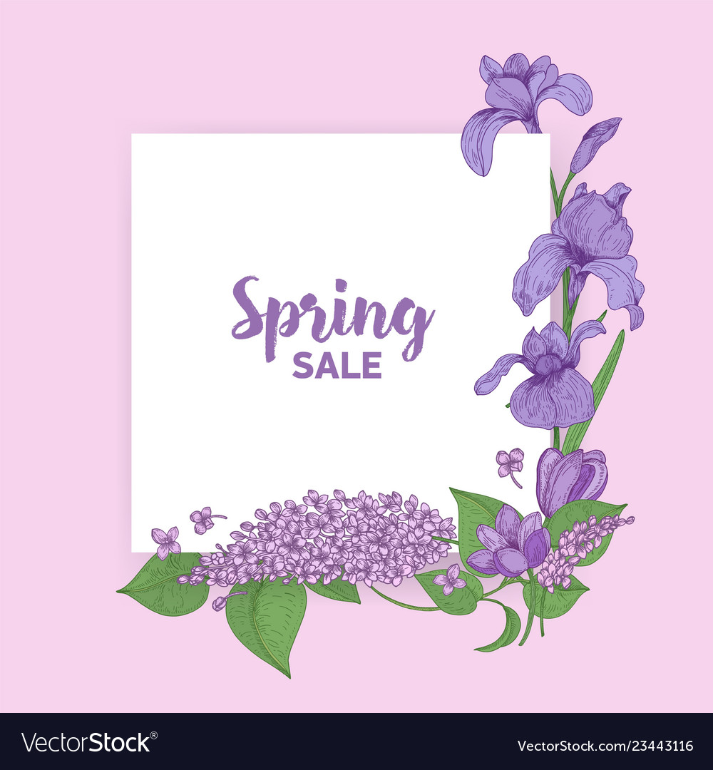 Square card with spring sale lettering decorated