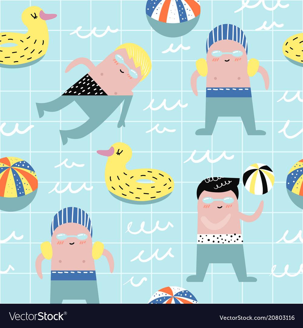 Summer childish seamless pattern with cute boys