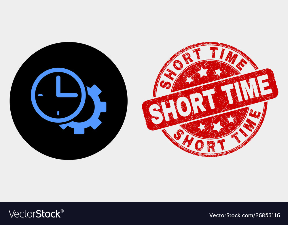 Time Settings Gear Icon And Grunge Short Vector Image