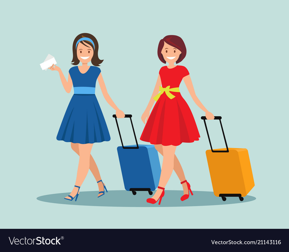 Two female friends with luggage at the airport