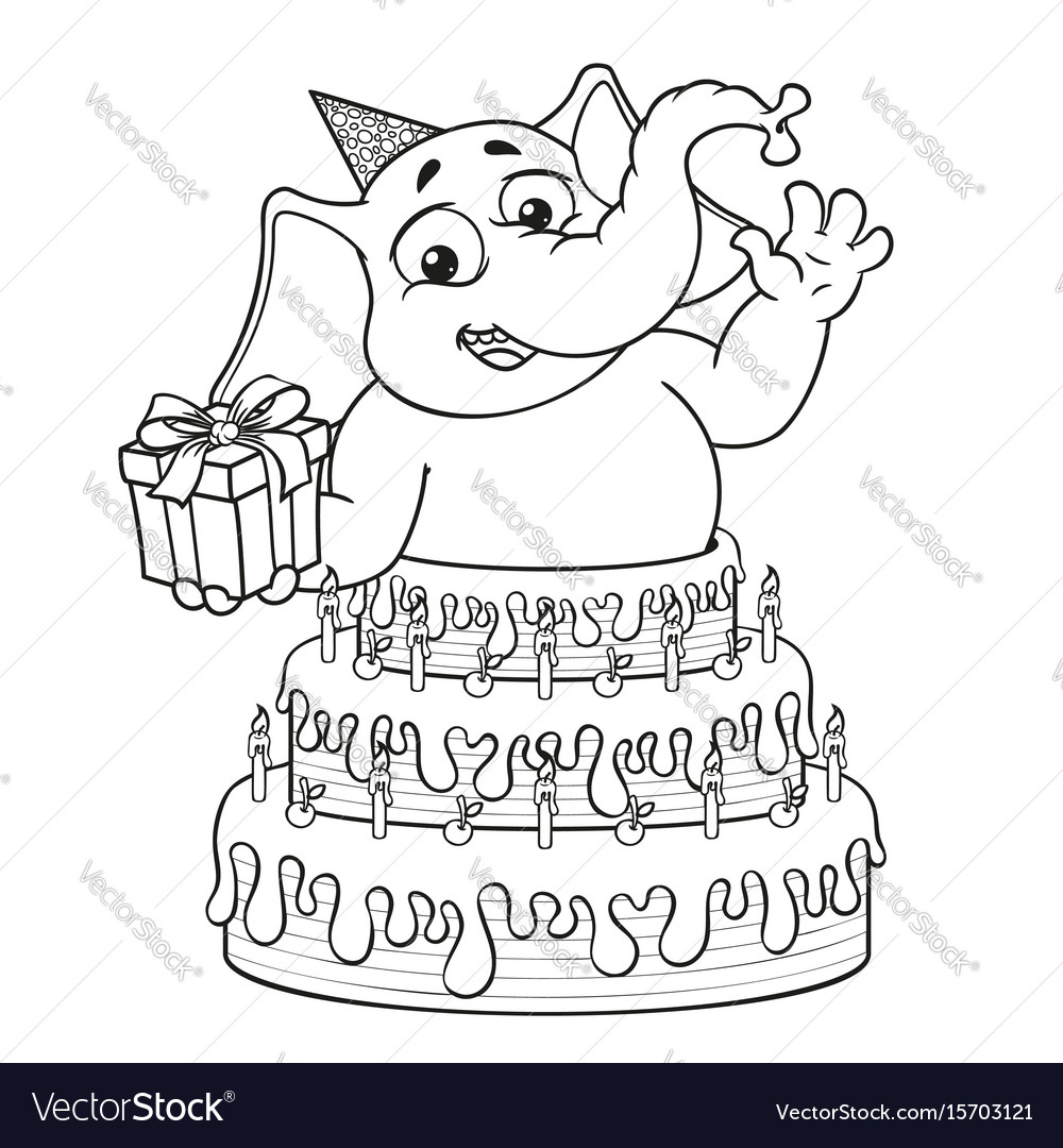 Elephant surprise from cake cartoon vector image