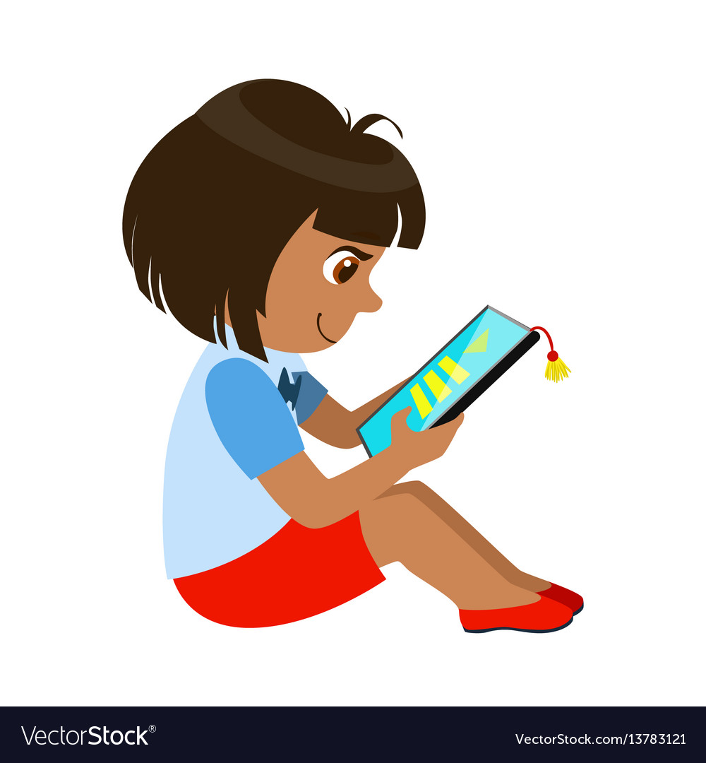 Girl sitting reading and electronic book part of