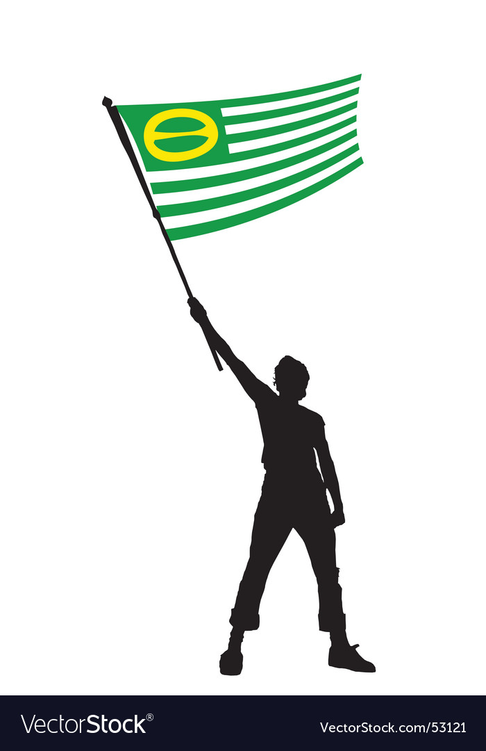 Man holding a ecology flag