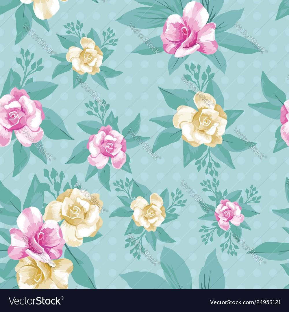 Pink yellow rose leaves seamless pattern mint