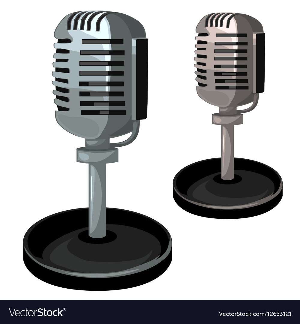 Professional metal microphone on stand
