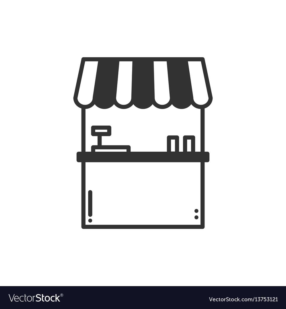 Thin line icons set cashbox ticket window food