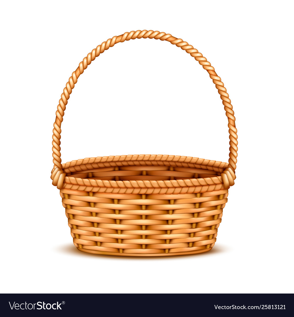 Wicker basket realistic isolated