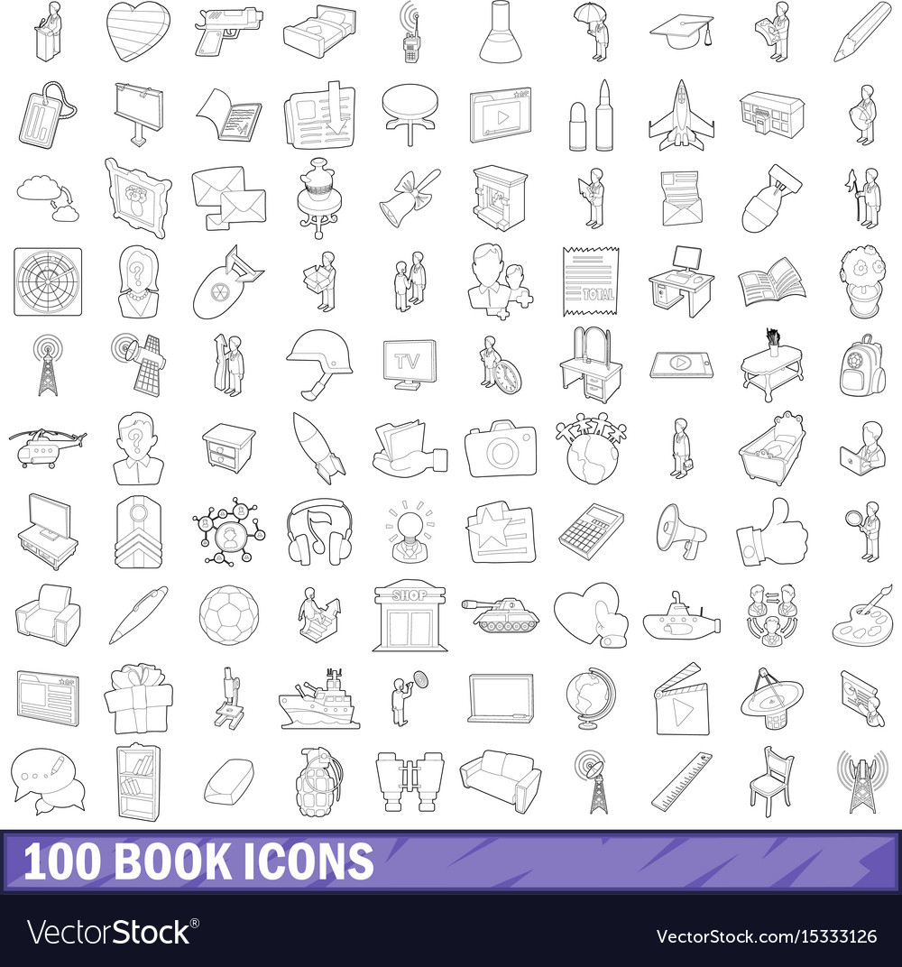 100 book icons set outline style
