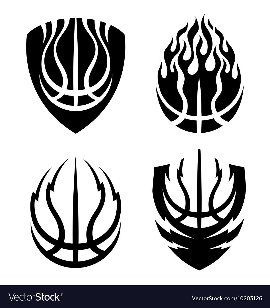 Basketball icon emblems set vector image