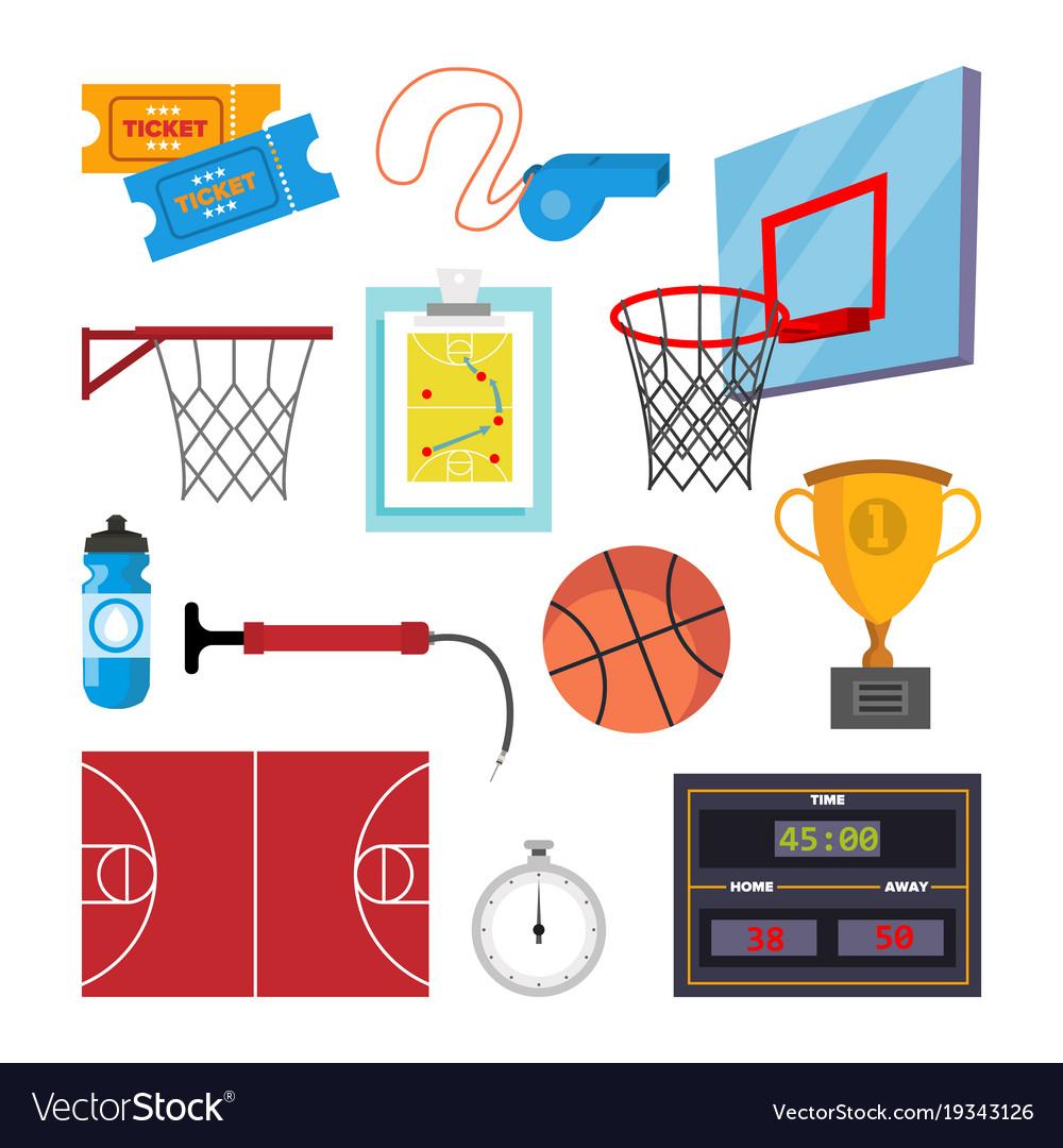Basketball icons set sport basketball vector image