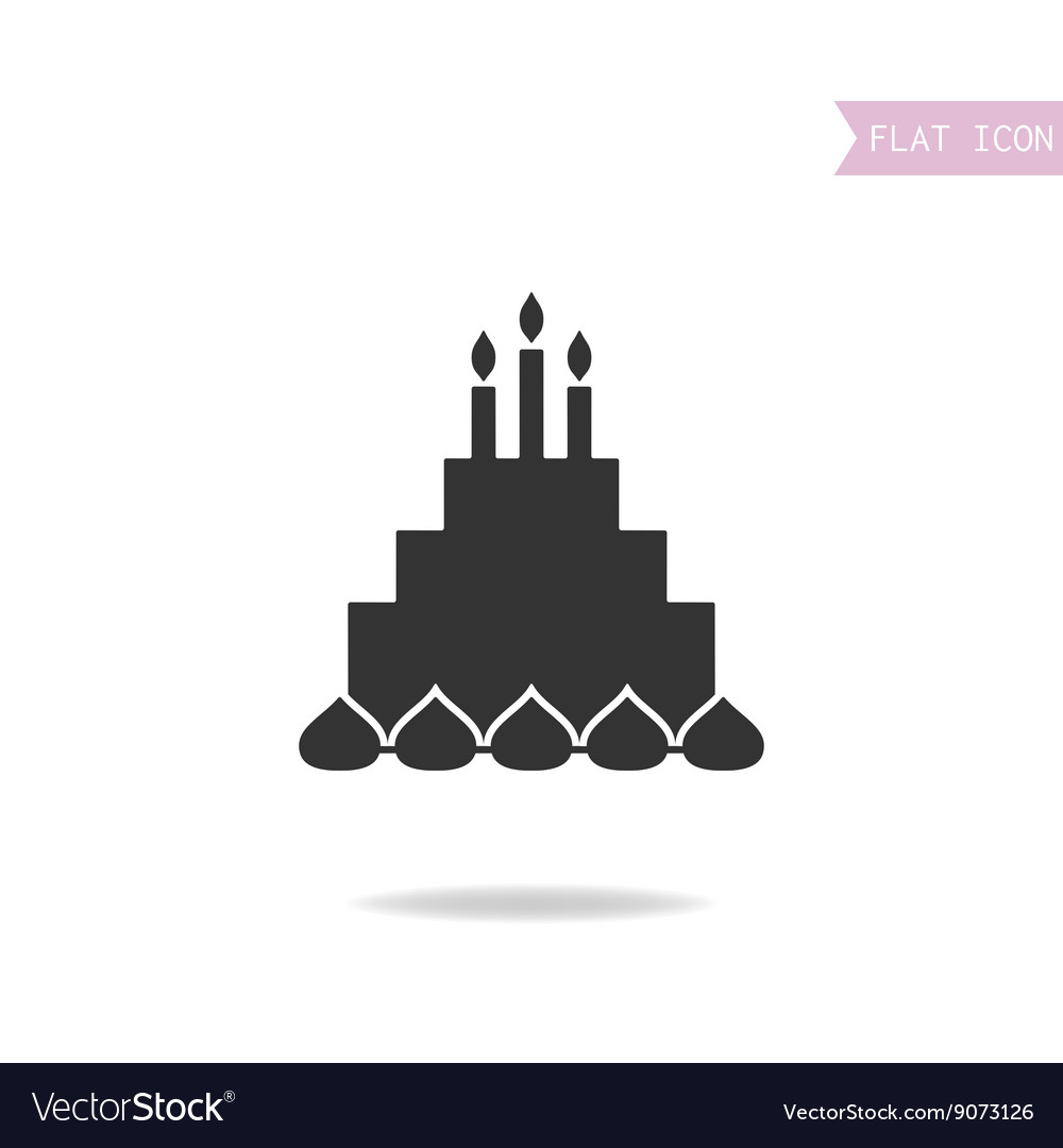 Cake with candles Black silhouette flat icon
