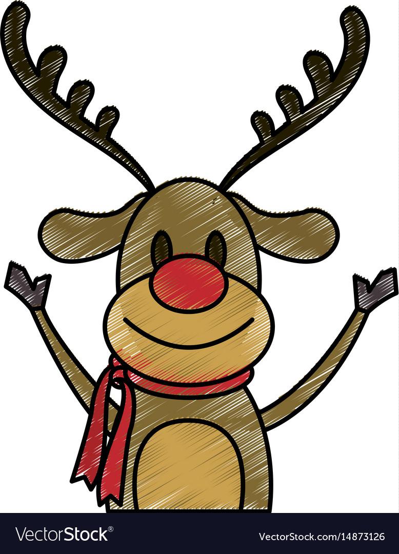 - Color Pencil Cartoon Half Body Reindeer With Scarf