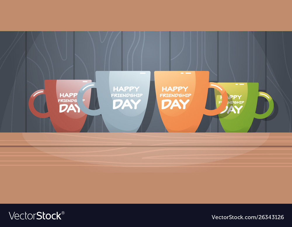 Colorful cups on wooden table with text happy
