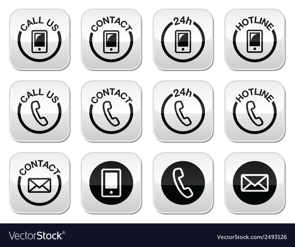Contact hotline 24h help buttons set