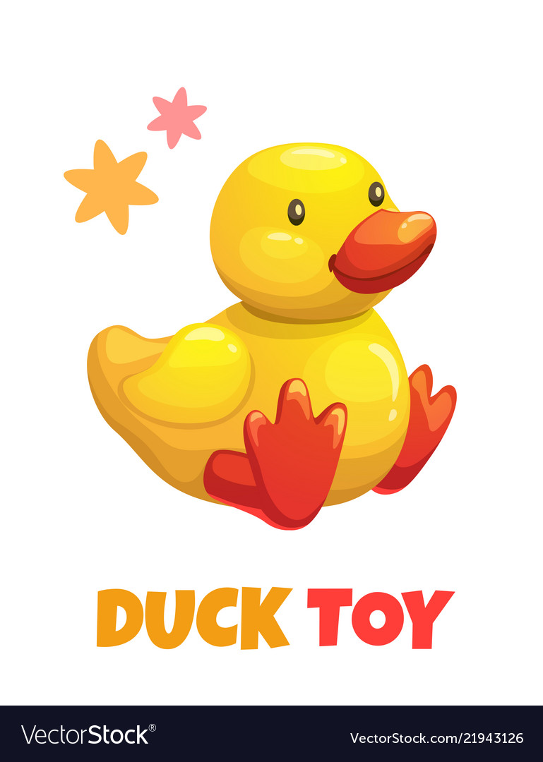 Cute Cartoon Yellow Duck Stuffed Toy Baby Vector Image
