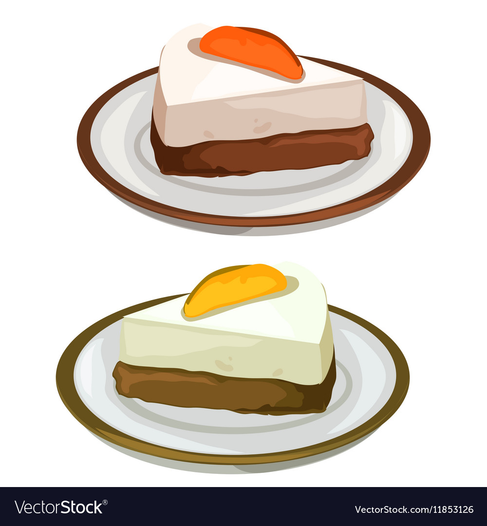 Delicious cheesecake with fruits dessert on plate vector image