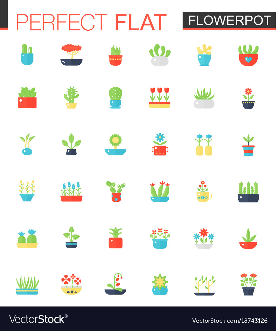 Flat icons set of house plants and flowers
