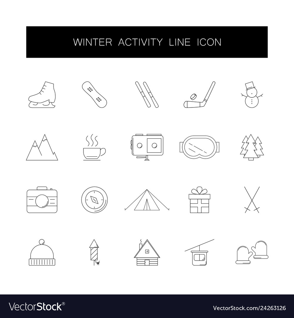 Line icons set winter activity pack