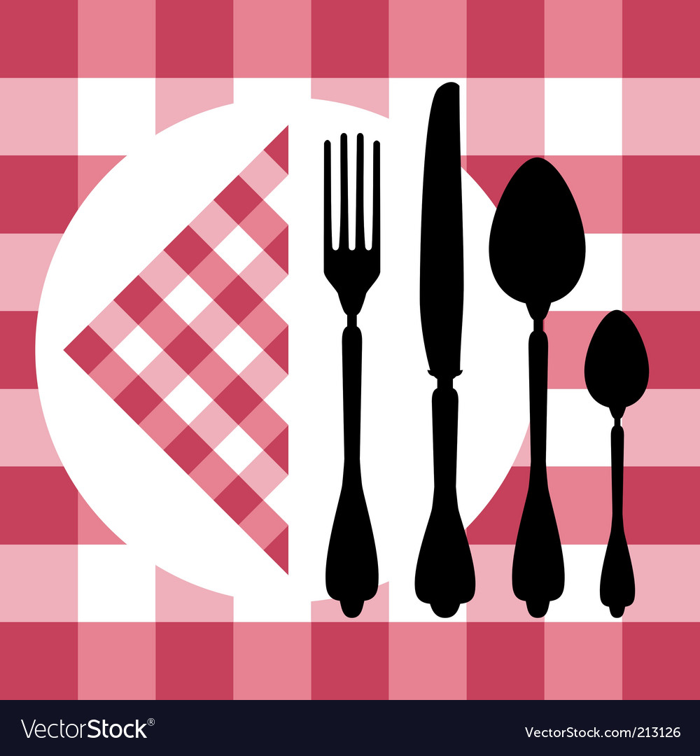 Menu design with cutlery silhouettes
