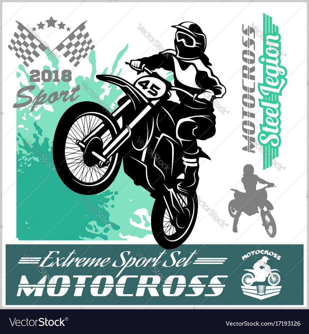 Motocross Rider Emblem And Logos Royalty Free Vector Image