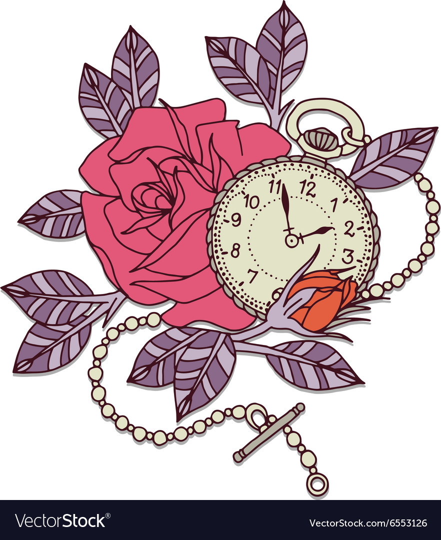 Rose Clock Tattoo Design