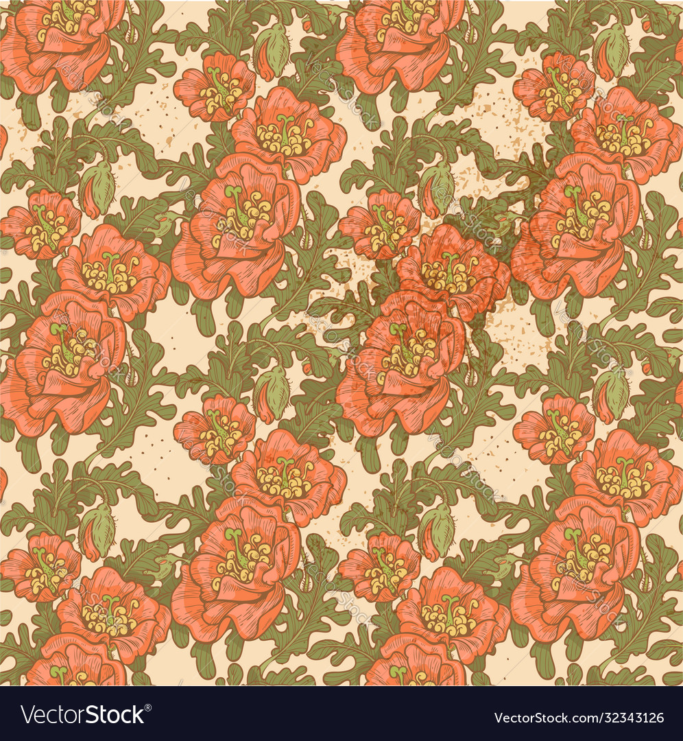 Seamless pattern vintage decorative red poppies