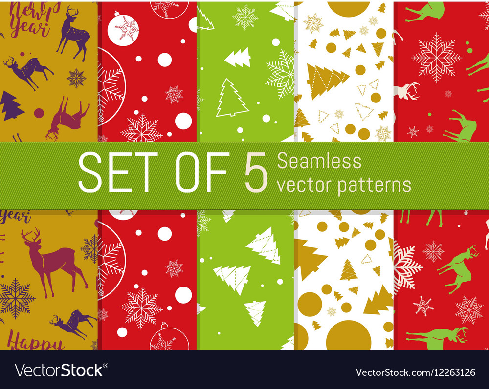 Set of 5 Christmas and New Year seamless pattern