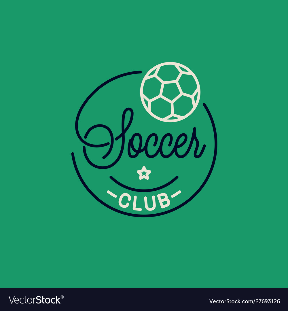 Soccer club logo round linear logo soccer ball