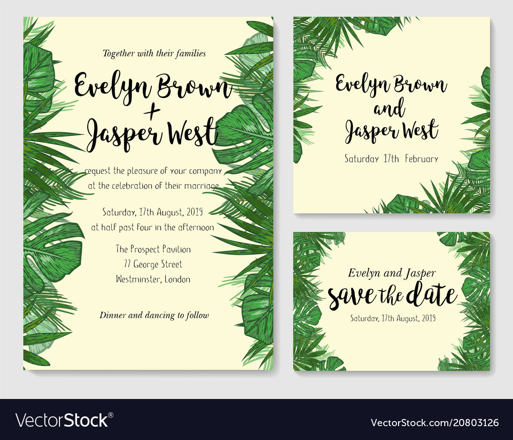 Wedding invitation save the date rsvp invite vector image