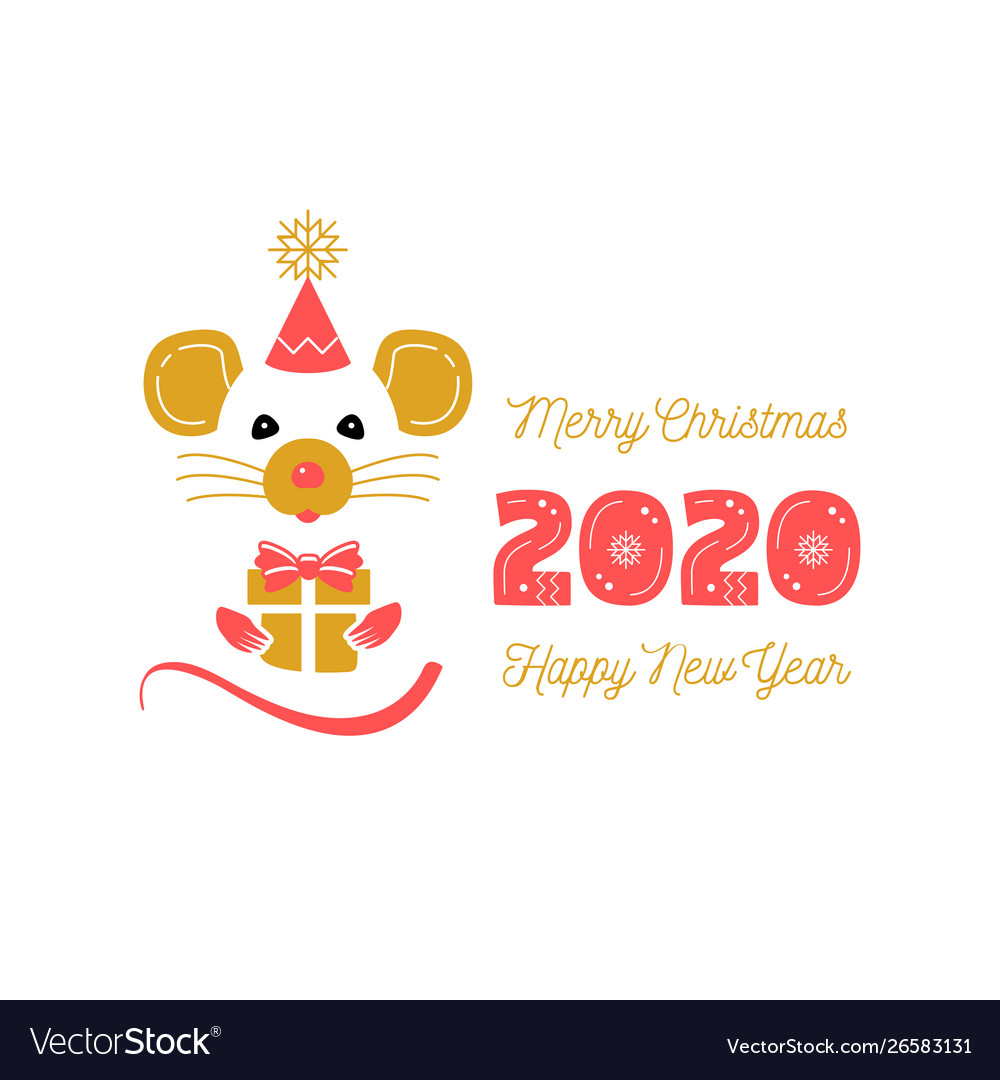 Cute rat and date 2020 year christmas card and