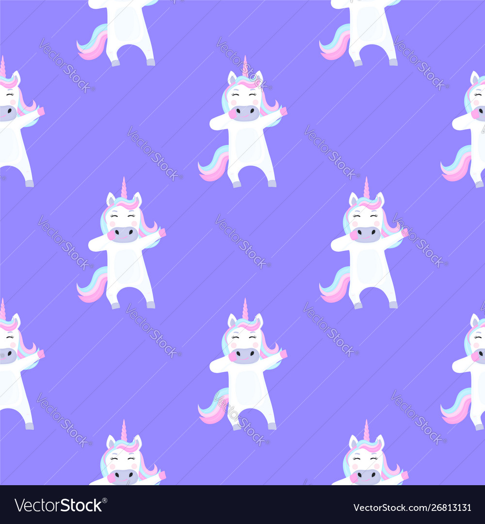 Funny unicorn dabbing seamless pattern for the
