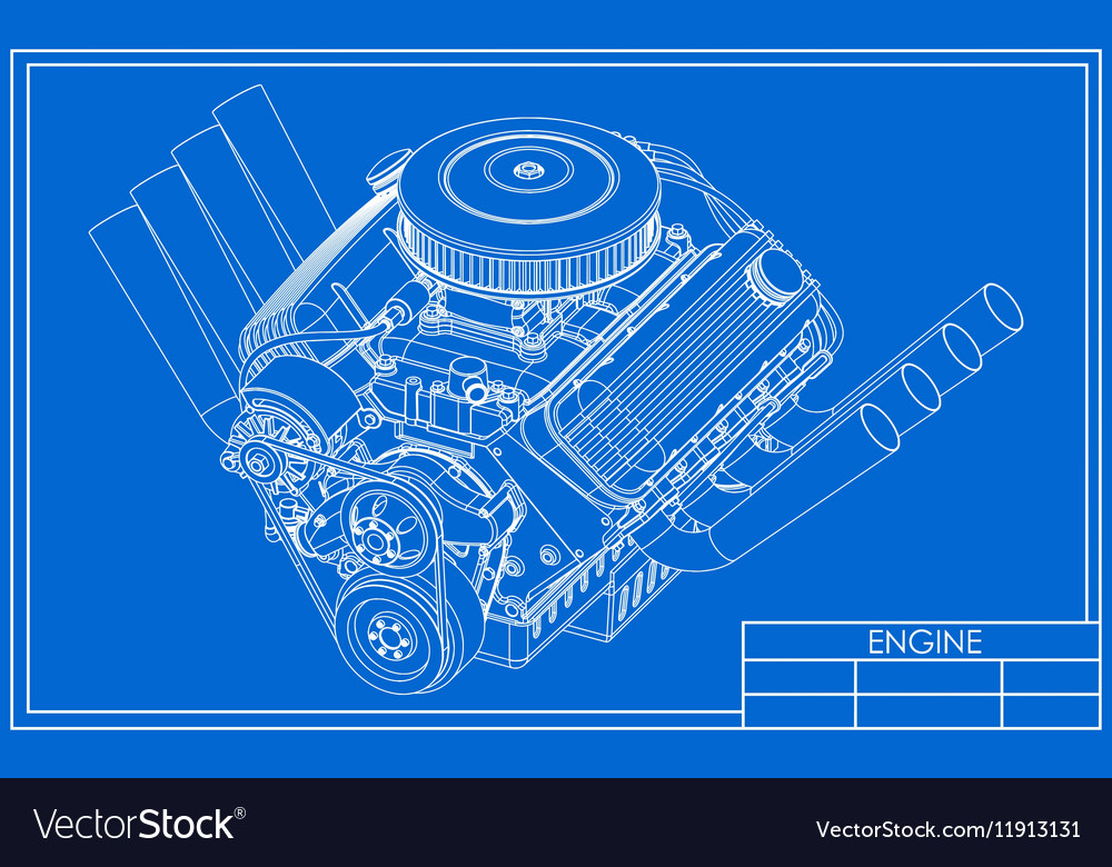 Hot rod V8 Engine drawing