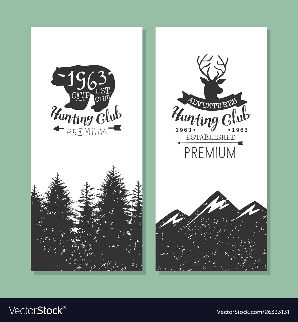 Hunting club logo templates set forest camping