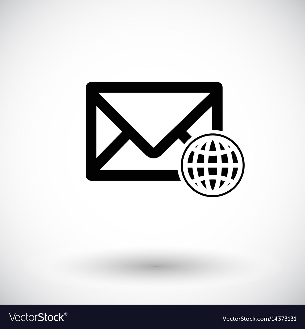 Mail with globe flat icon