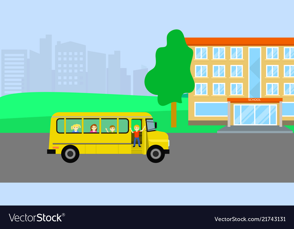 School bus with kids background flat style