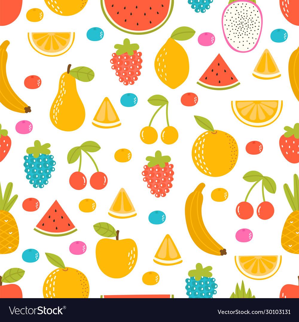Seamless pattern with cartoon hand drawn fruit
