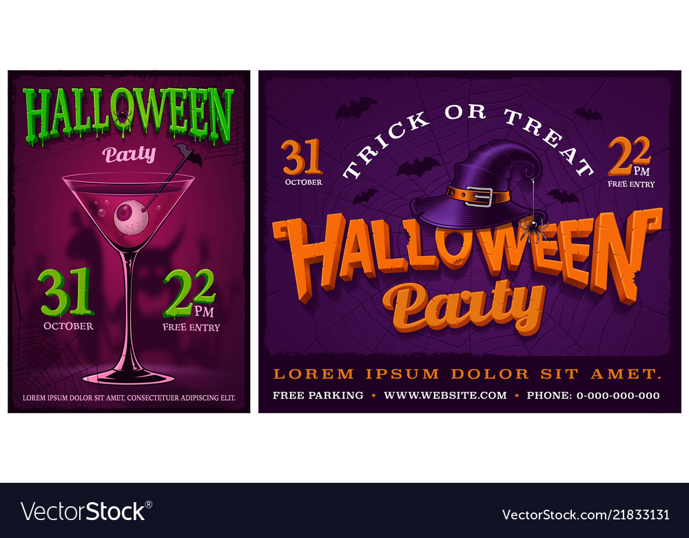 Set of halloween party posters