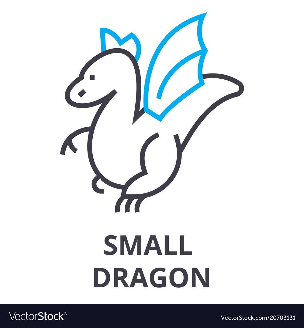 Small dragon thin line icon sign symbol