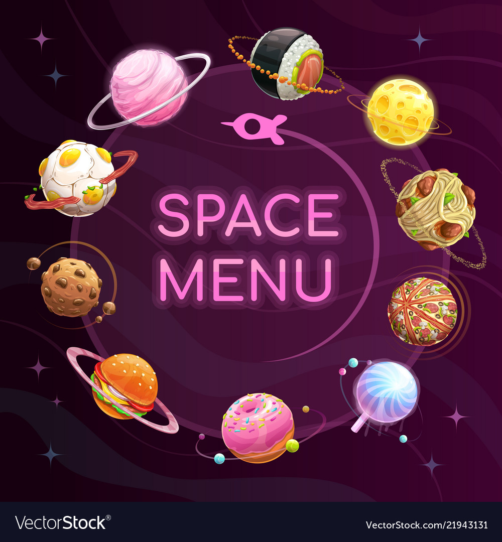 space menu template food planets poster royalty free vector
