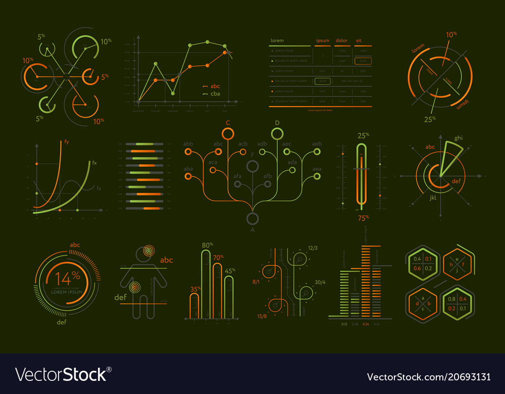 Various business infographics isolated set